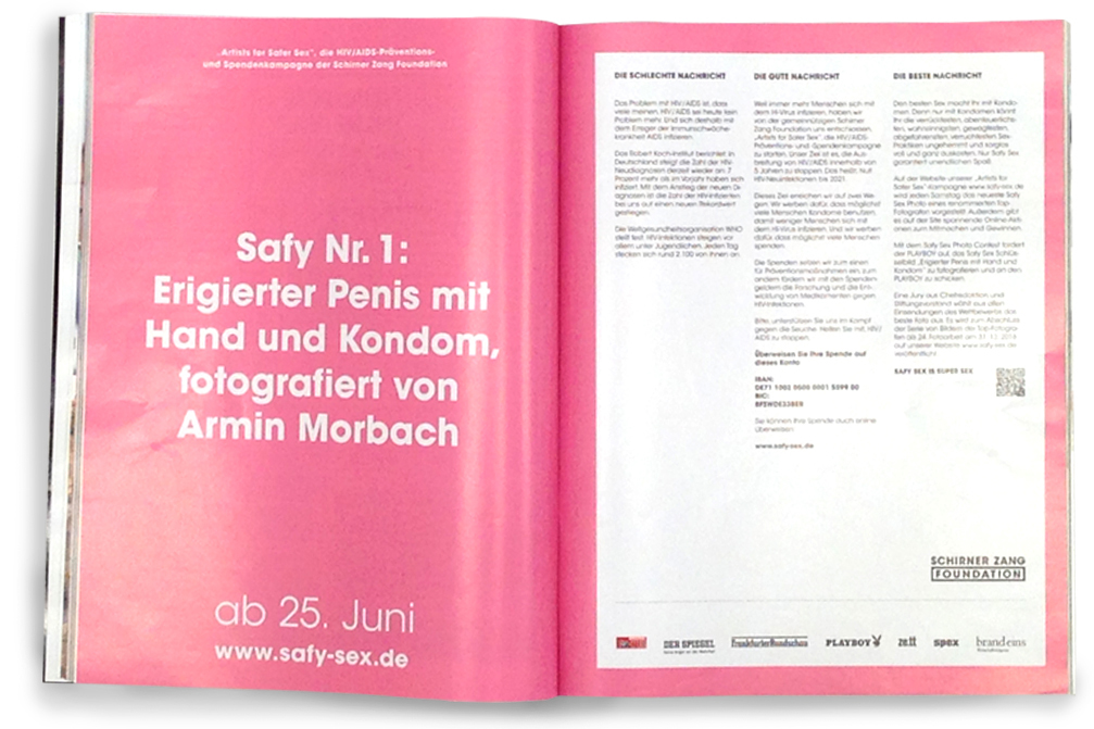 "Doppelseitige Anzeige der ""Artists for Safer Sex"" - Kampagne in Playboy"