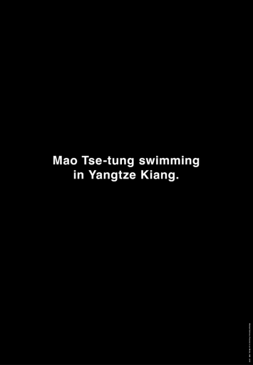 Michael Schirner, Mao Tse-tung swimming in Yangtze Kiang, Vertical City Light Poster, Toronto 2013