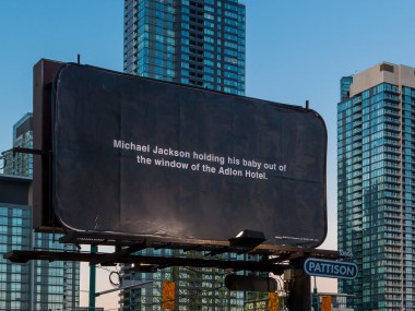 Michael Schirner, Michael Jackson holding a baby out of the window of the Adlon Hotel, Horizontal Billboard, Toronto 2013
